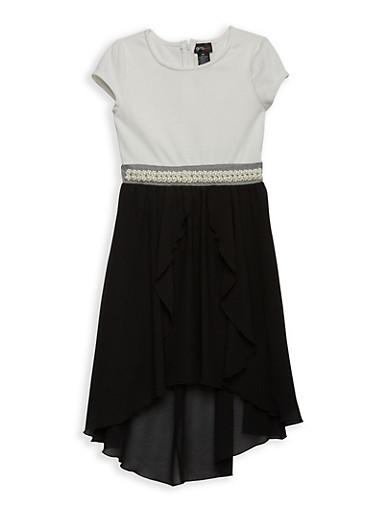 Girls 7-16 Faux Pearl Trim Skater Dress,BLACK,large