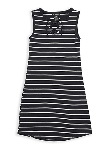 Girls 7-16 Striped Lace Up Dress,BLACK/WHITE,large
