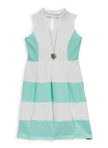 Girls 7-16 Textured Knit Color Block Skater Dress with Necklace,AQUA,large