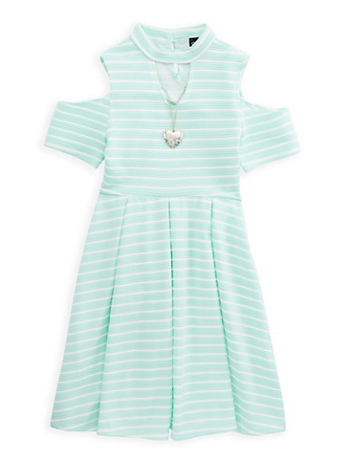 Girls 7-16 Striped Cold Shoulder Dress with Necklace,AQUA,large