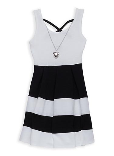 Girls 7-16 Textured Knit Striped Skater Dress | Tuggl