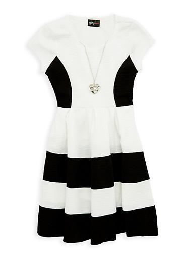 Girls 7-16 Color Block Skater Dress with Necklace,BLACK,large