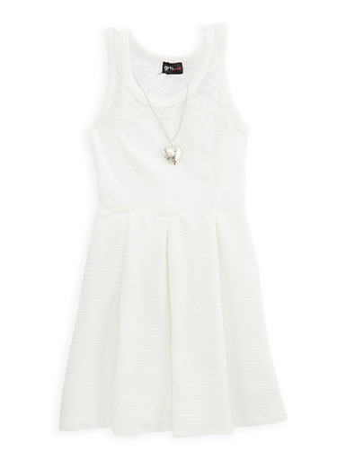 Girls 7-16 Mesh Trim Skater Dress with Necklace | Tuggl