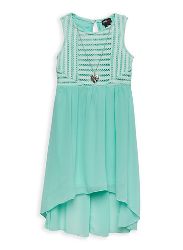 Girls 7-16 Crochet Top High Low Dress with Necklace,AQUA,large