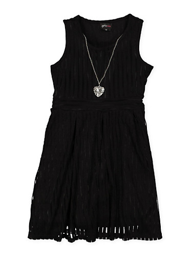 Girls 7-16 Shadow Stripe Skater Dress,BLACK,large