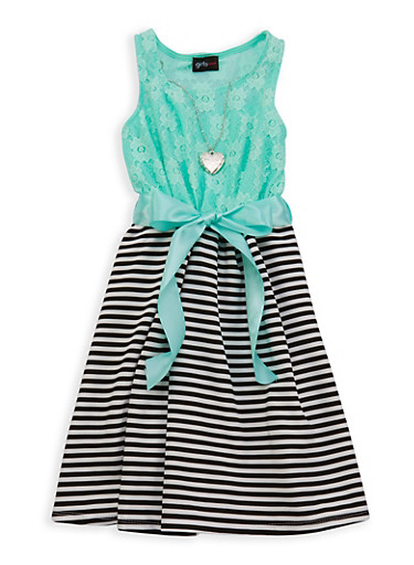 Girls 7-16 Lace Striped Dress with Necklace,AQUA,large