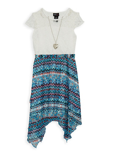 Girls 7-16 Lace and Printed Dress with Necklace,TURQUOISE,large