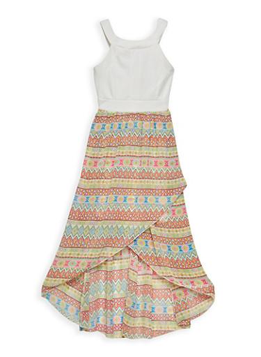 Girls 7-16 Printed Tulip Hem Dress,IVORY,large