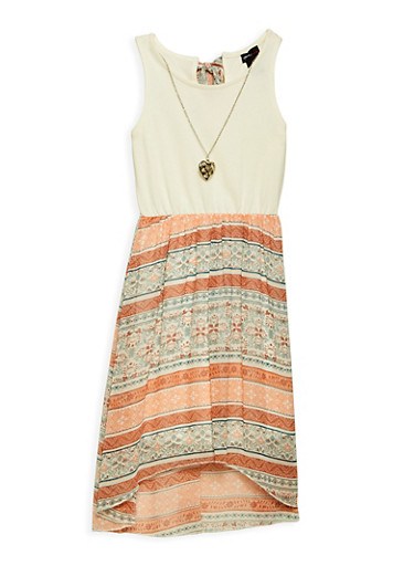 Girls 7-16 Printed High Low Dress with Necklace,PEACH,large