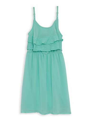 Girls 7-16 Eyelet Trim Skater Dress,AQUA,large