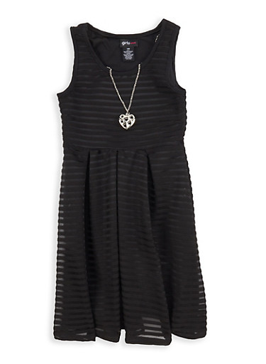 Girls 7-16 Textured Knit Skater Dress with Necklace,BLACK,large