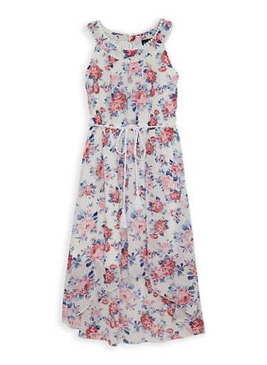 Girls 7-16 Printed Crochet Trim High Low Dress,IVORY,large