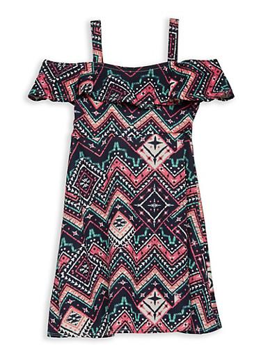 Girls 7-16 Aztec Print Off the Shoulder Dress,NAVY,large