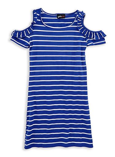 Girls 7-16 Ruffle Cold Shoulder Striped Dress,WHITE/ROYAL,large