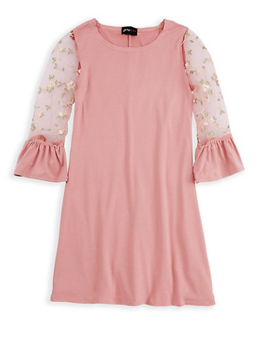 Girls 7-16 Embroidered Sleeve Dress,MAUVE,large