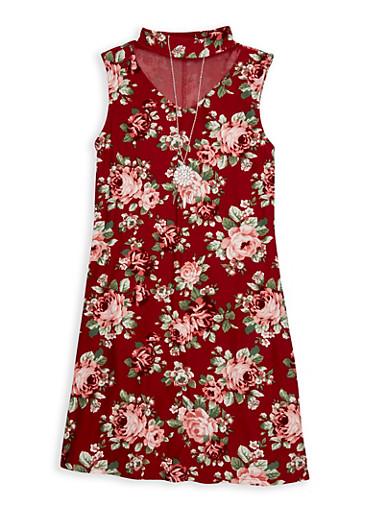 Girls 7-16 Mesh Yoke Floral Tank Dress,WINE,large