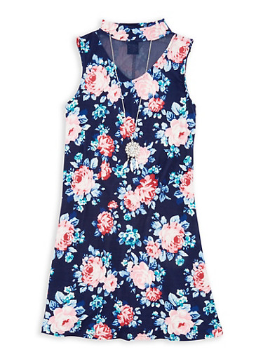 Girls 7-16 Printed Mesh Insert Dress with Necklace,NAVY,large