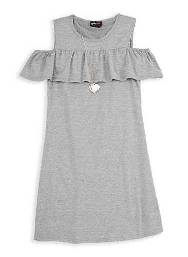 Girls 7-16 Cold Shoulder Dress with Necklace,HEATHER,large