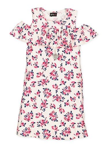 Girls 7-16 Floral Cold Shoulder Dress,IVORY,large