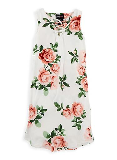 Girls 7-16 Soft Knit Floral Caged Neck Dress,IVORY,large