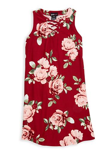 Girls 7-16 Soft Knit Printed Lace Up Tank Dress,WINE,large