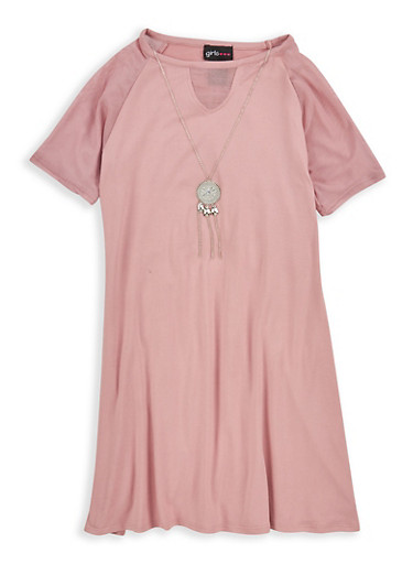 Girls 7-16 Mesh Detail Dress with Necklace,MAUVE,large