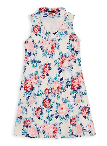 Girls 7-16 Floral Grommet Dress,IVORY,large