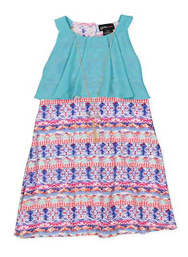 Girls 7-16 Printed Shift Dress with Chiffon Overlay | Tuggl