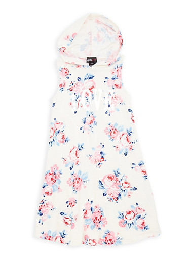 Girls 7-16 Hooded  Foil Graphic Dress,IVORY,large