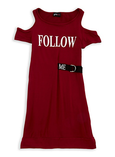 Girls 7-16 Graphic Cold Shoulder Dress,WINE,large