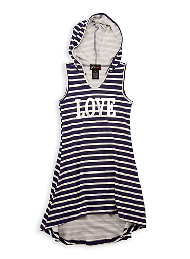 Girls 7-16 Love Graphic High Low Dress,NAVY,large