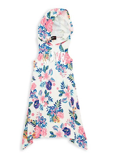 Girls 7-16 Love Graphic Soft Knit Floral Dress,IVORY,large