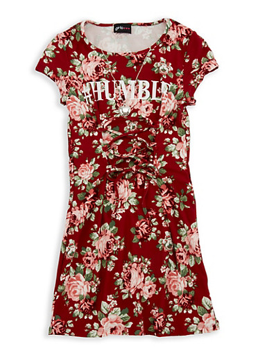 Girls 7-16 Floral Soft Knit Graphic Lace Up Dress,WINE,large
