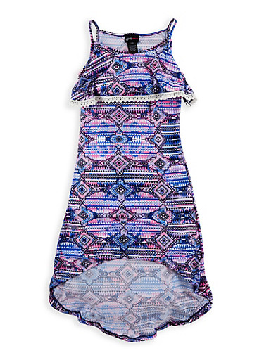 Girls 7-16 Soft Knit Printed High Low Dress | Tuggl