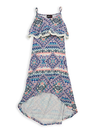 Girls 7-16 Printed Soft Knit High Low Dress,BRN MULTI,large