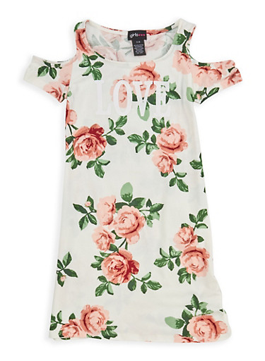 Girls 7-16 Floral Graphic Cold Shoulder Dress,IVORY,large