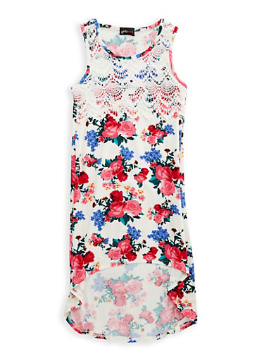 Girls 7-16 Soft Knit Floral High Low Dress,IVORY,large