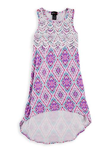 Girls 7-16 Printed Crochet Detail High Low Dress,FUCHSIA,large