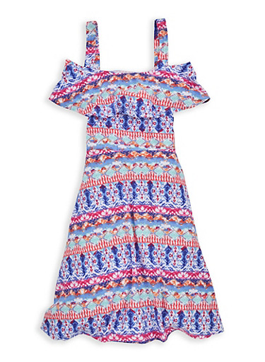 Girls 7-16 Printed Off the Shoulder Dress,TURQUOISE,large