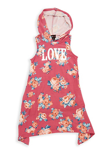 Girls 7-16 Love Graphic Hooded Dress,MAUVE,large
