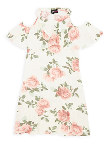 Girls 7-16 Ruffled Floral Dress,IVORY,large