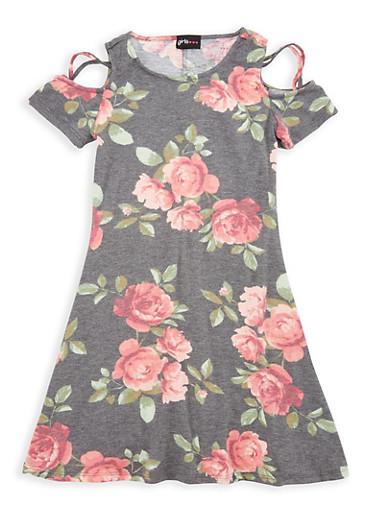Girls 7-16 Floral Cold Shoulder Dress,DENIM,large