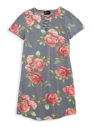 Girls 7-16 Lace Up Floral Dress,DENIM,large
