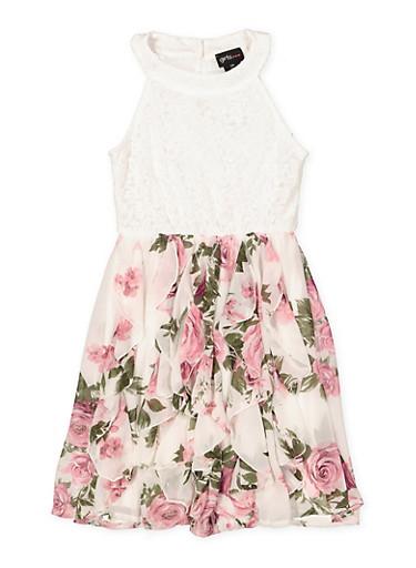 Girls 7-16 Lace Floral Skater Dress,IVORY,large