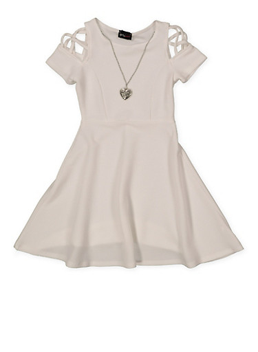 Girls 7-16 Caged Sleeve Skater Dress with Necklace,IVORY,large