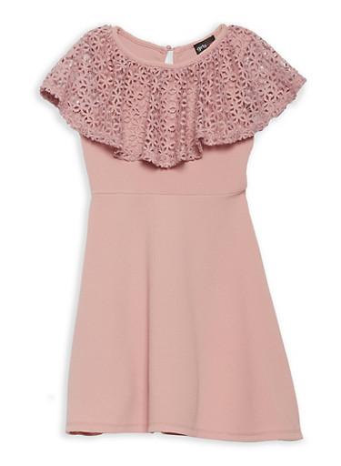 Girls 7-16 Crochet Ruffle Skater Dress,MAUVE,large