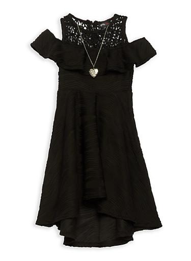 Girls 7-16 Ruffled Cold Shoulder Skater Dress,BLACK,large