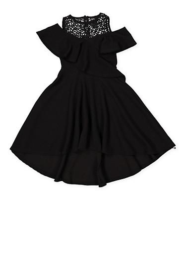 Girls 7-16 Textured Knit Cold Shoulder Skater Dress,BLACK,large