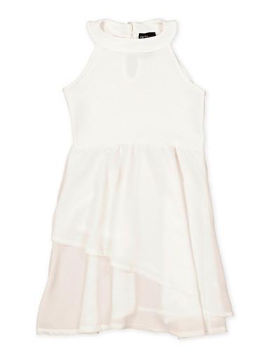 Girls 7-16 Sleeveless Tiered Dress,IVORY,large