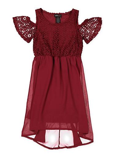 Girls 7-16 Crochet Cold Shoulder Skater Dress,WINE,large